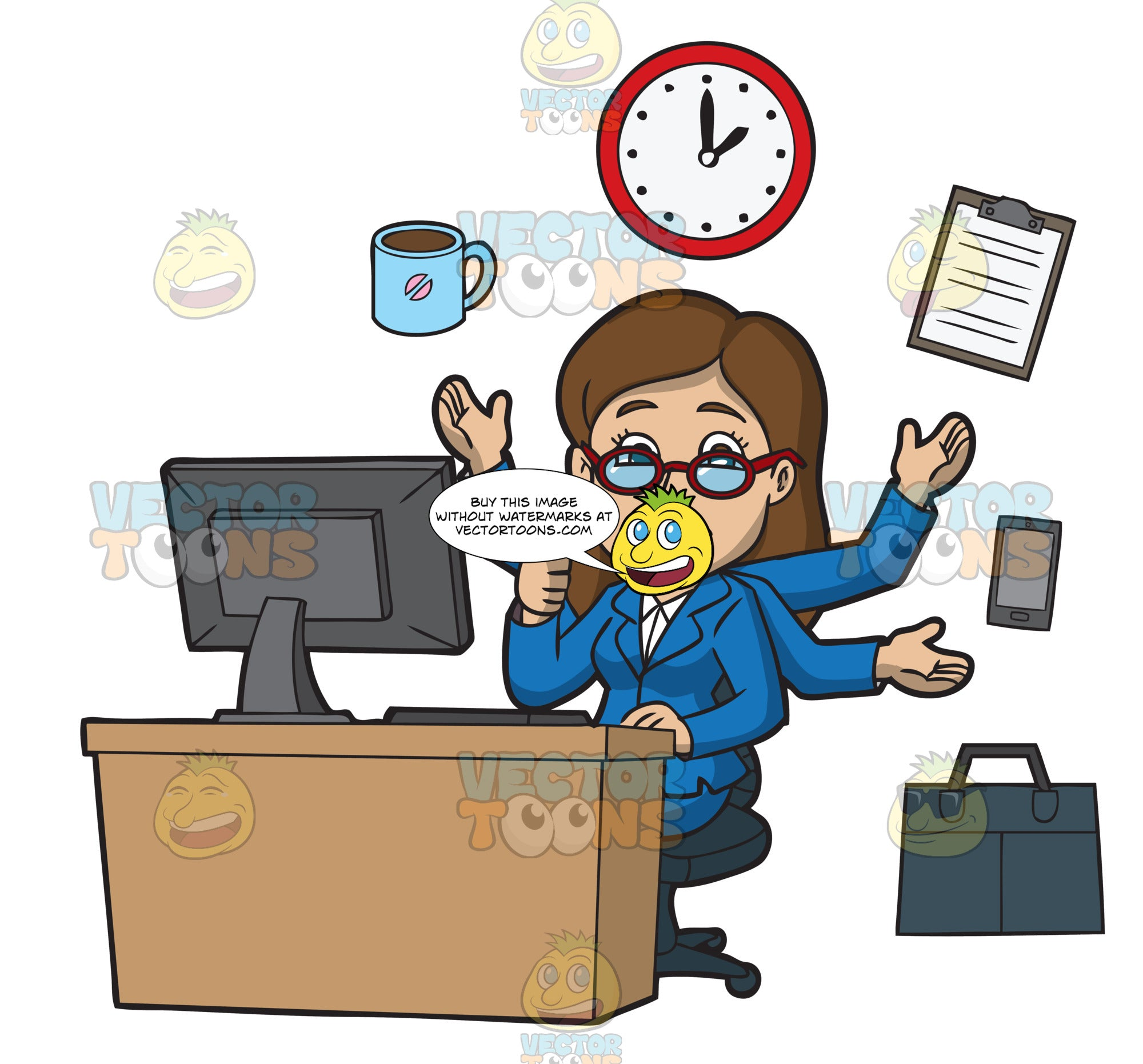 A Woman Managing Her Time Well At The Office