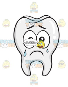 Tooth Expressing Sadness By Crying