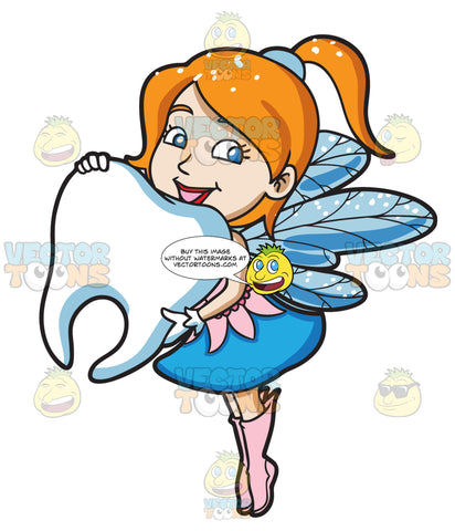 A Charming Fairy Holding A Big Tooth