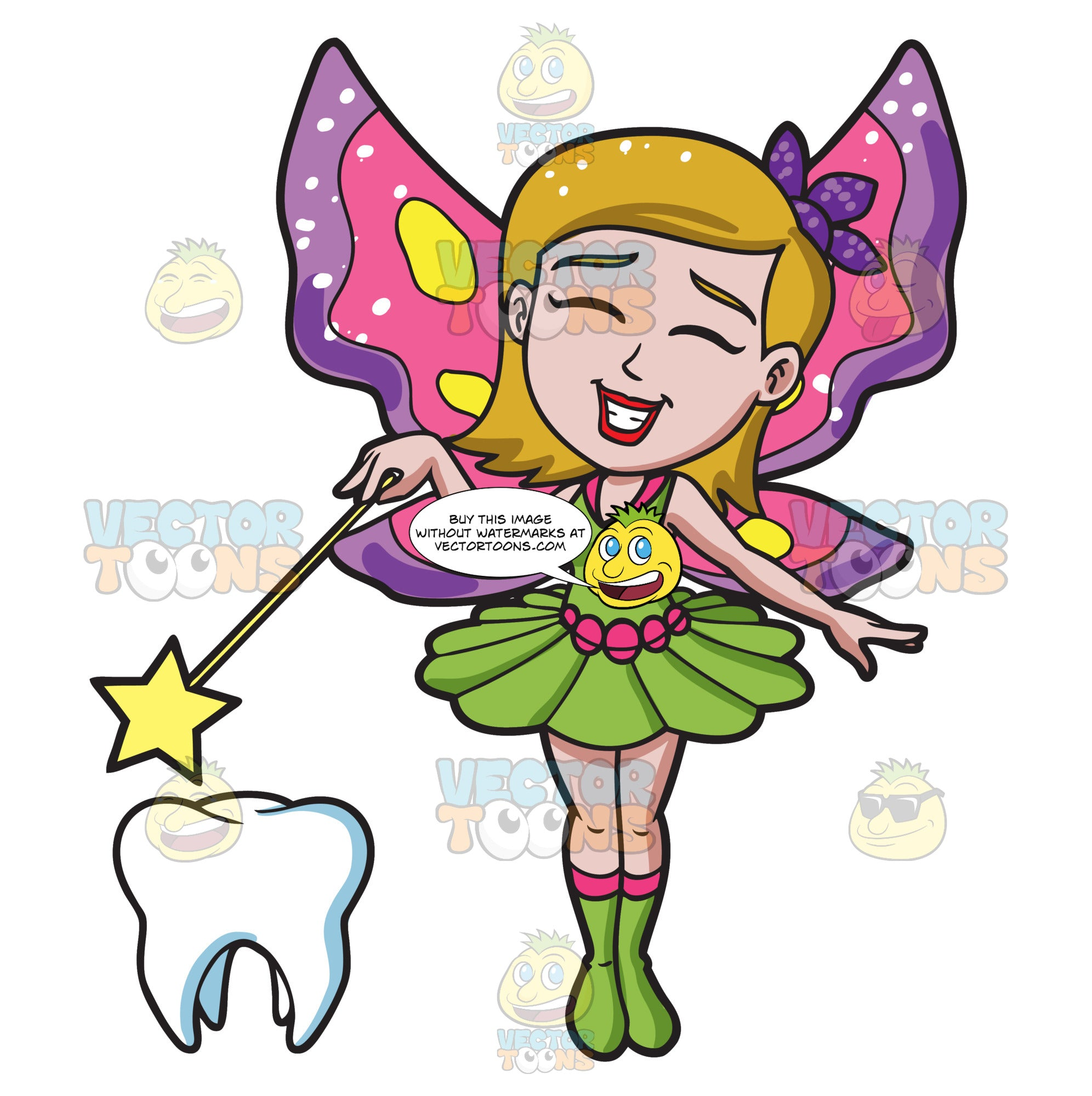 A Happy Fairy Casting Magic On A Tooth
