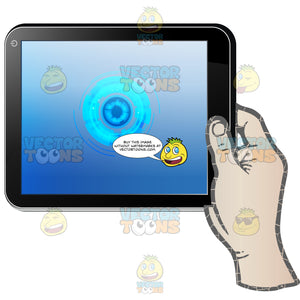 Right Hand Holding Black Computer Tablet Horizontal, Blue Circles Shown On Display Screen
