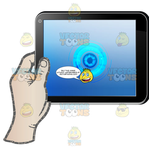 Left Hand Holding Black Computer Tablet Horizontal, Blue Circles Shown On Display Screen