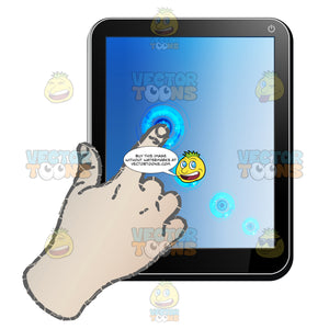 Black Computer Tablet Vertical, Right Hand Index Finger Pointing On Screen, Several Small Circles Shown