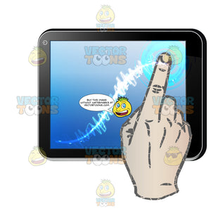 Black Computer Tablet Horizontal, Right Hand Index Finger Touching Blue Screen