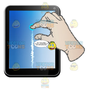 Black Computer Tablet Vertical, Right Hand Index Finger And Thumb Pinching, Enlarging Screen