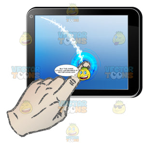 Black Computer Tablet Horizontal, Left Hand Dragging Index Finger Down Blue Screen