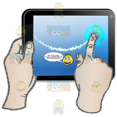 Black Computer Tablet Held Horizontally, Left Hand Holding Tablet, Right Hand Dragging Index Finger Across Blue Screen In Curve