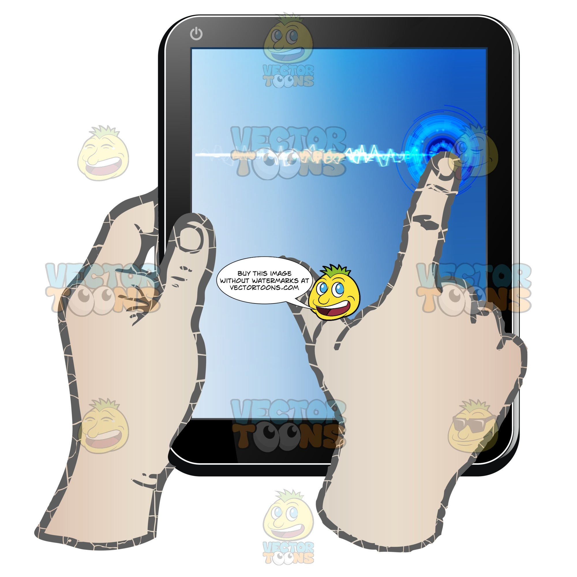 Black Computer Tablet Held Vertically, Left Hand Holding Tablet, Right Hand Dragging Finger Across Blue Screen In Straight Line