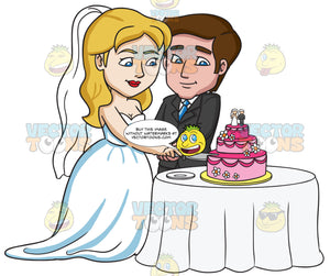 A Married Couple Slicing Their Wedding Cake