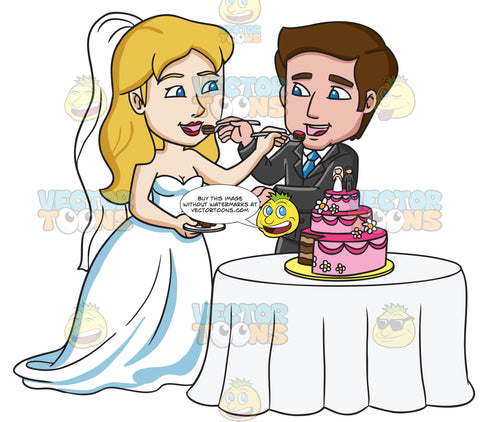 A Couple Feeding Each Other A Slice Of Wedding Cake