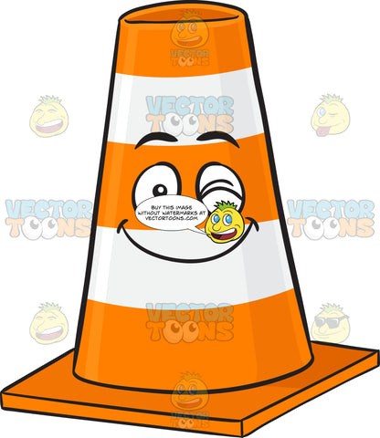 Traffic Cone Character Smiling And Winking Emoji