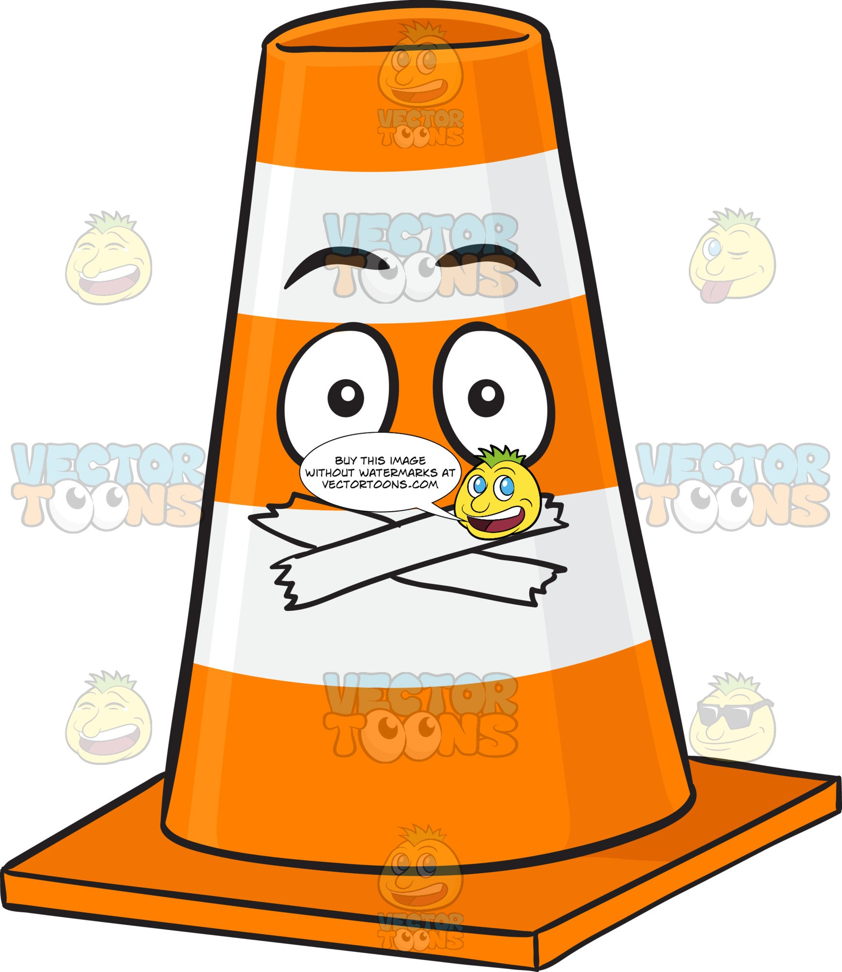 Traffic Cone Character With Sealed Mouth Emoji