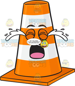 Traffic Cone Character Crying Out Loud Emoji