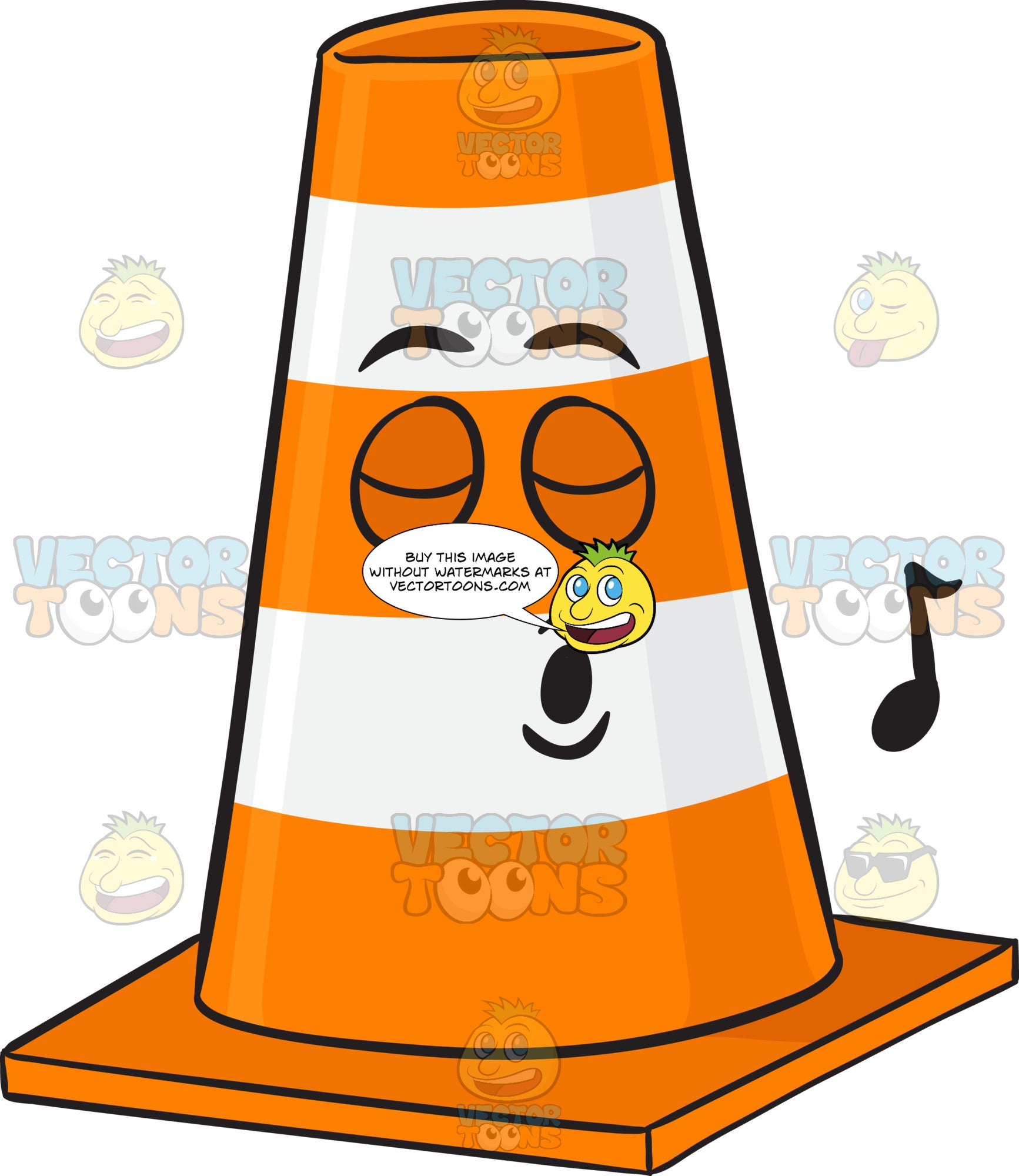 Traffic Cone Character Singing Pleasurably Emoji