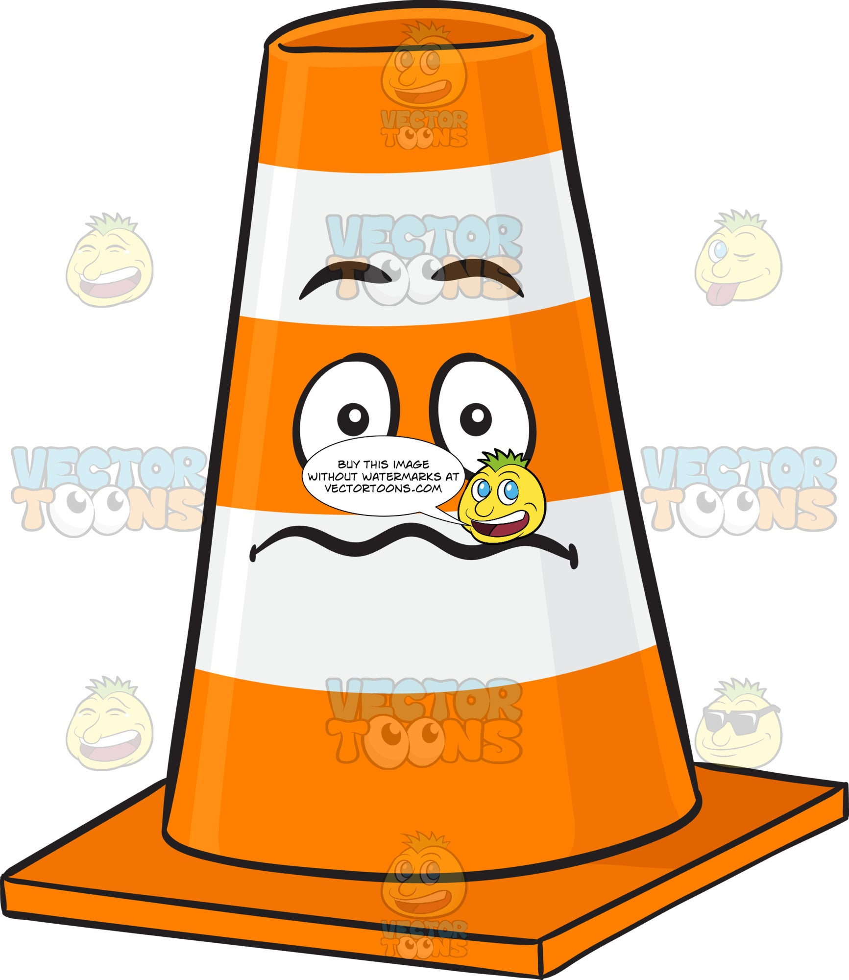 Nervous Looking Traffic Cone Emoji