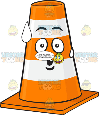Surprised And Sweating Traffic Cone Character Emoji