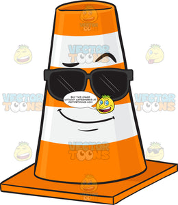 Cool Traffic Cone Character Wearing Sunglasses Emoji