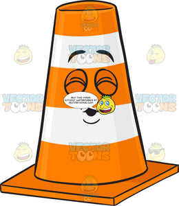 Traffic Cone Character With Pouted Lips Emoji