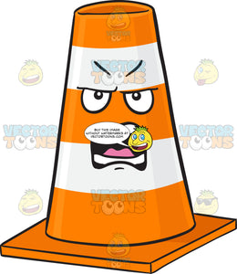 Yelling And Angry Traffic Cone Character Emoji
