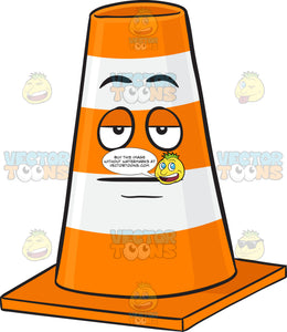 Sleepy Traffic Cone Character Emoji