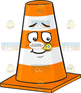 Traffic Cone Character Looking Shy Emoji