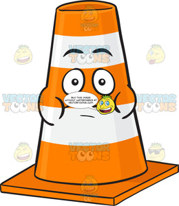 Traffic Cone Character With Puffed Cheeks Emoji