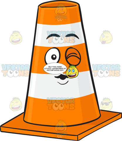Traffic Cone Character Blowing A Kiss And Winking Emoji
