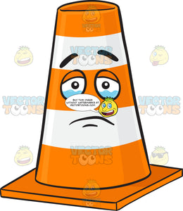 Sad Traffic Cone Character About To Cry Emoji