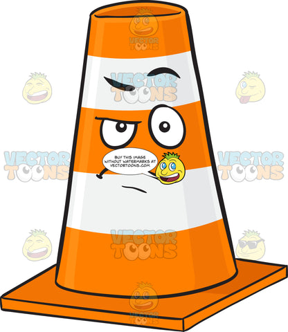 Angered Look On Traffic Cone Character Emoji