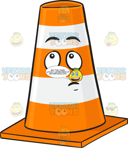 Traffic Cone Character With Wondering Look On Face Emoji