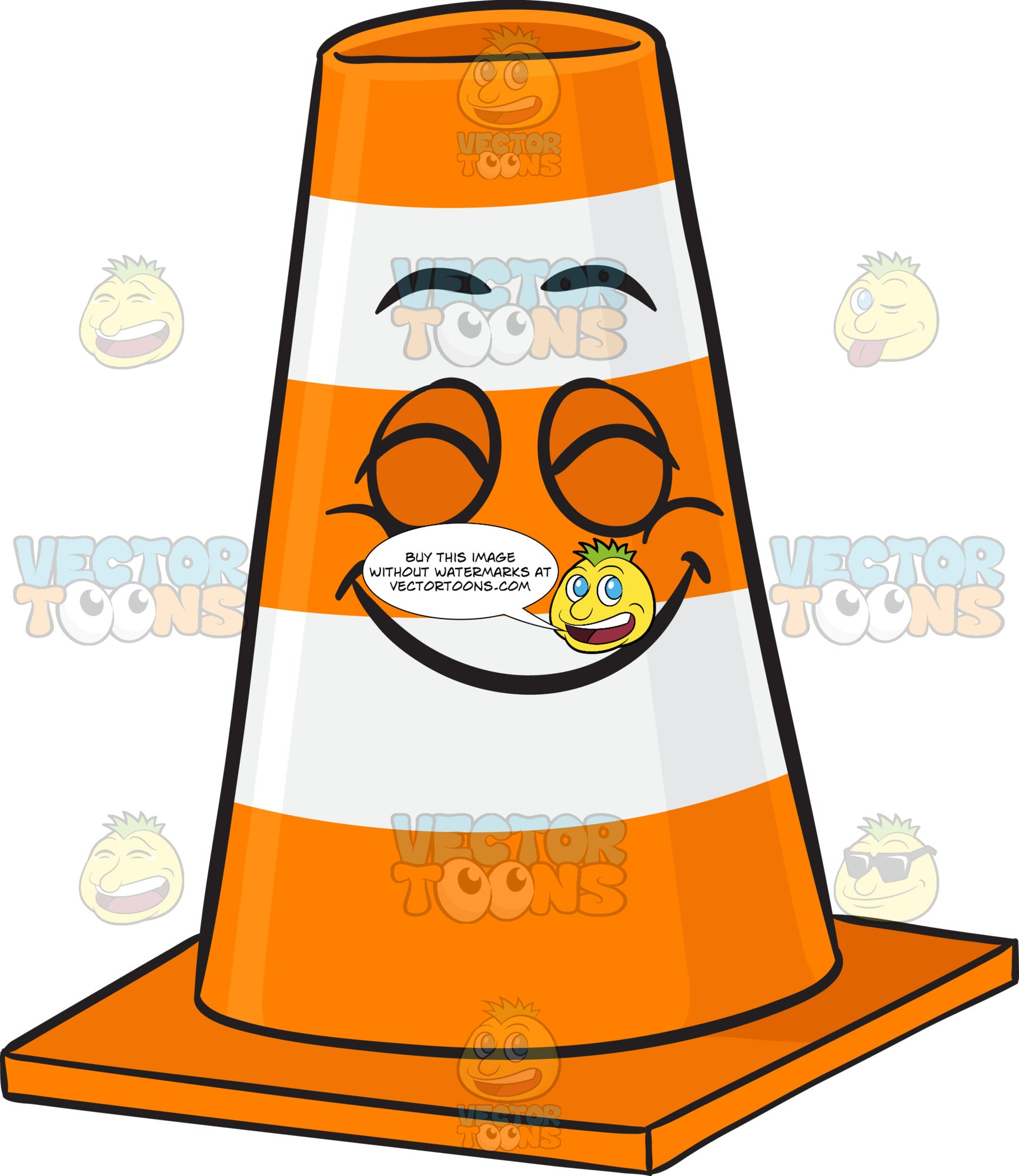 Traffic Cone Character With Beaming Look Of Satisfaction On Face Emoji