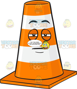Sleepy And Heavy Eyed Traffic Cone Character Emoji