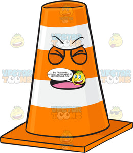 Screaming Traffic Cone Character Emoji