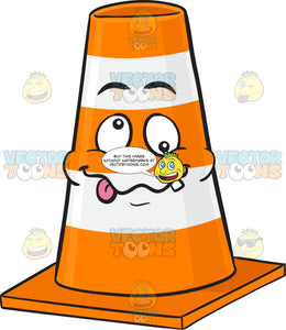 Crazy-Looney Traffic Cone Character Emoji