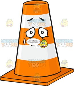 Traffic Cone Character Expressing Sadness With Teardrop Emoji