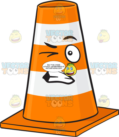 Traffic Cone Character Looking Disturbed Emoji