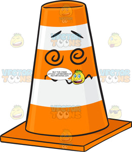 Dazed And Confused Traffic Cone Character Emoji