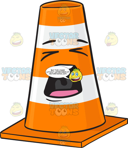 Traffic Cone Character Screaming Out Loud Emoji