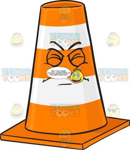 Traffic Cone Character With Disgusted Look On Face Emoji