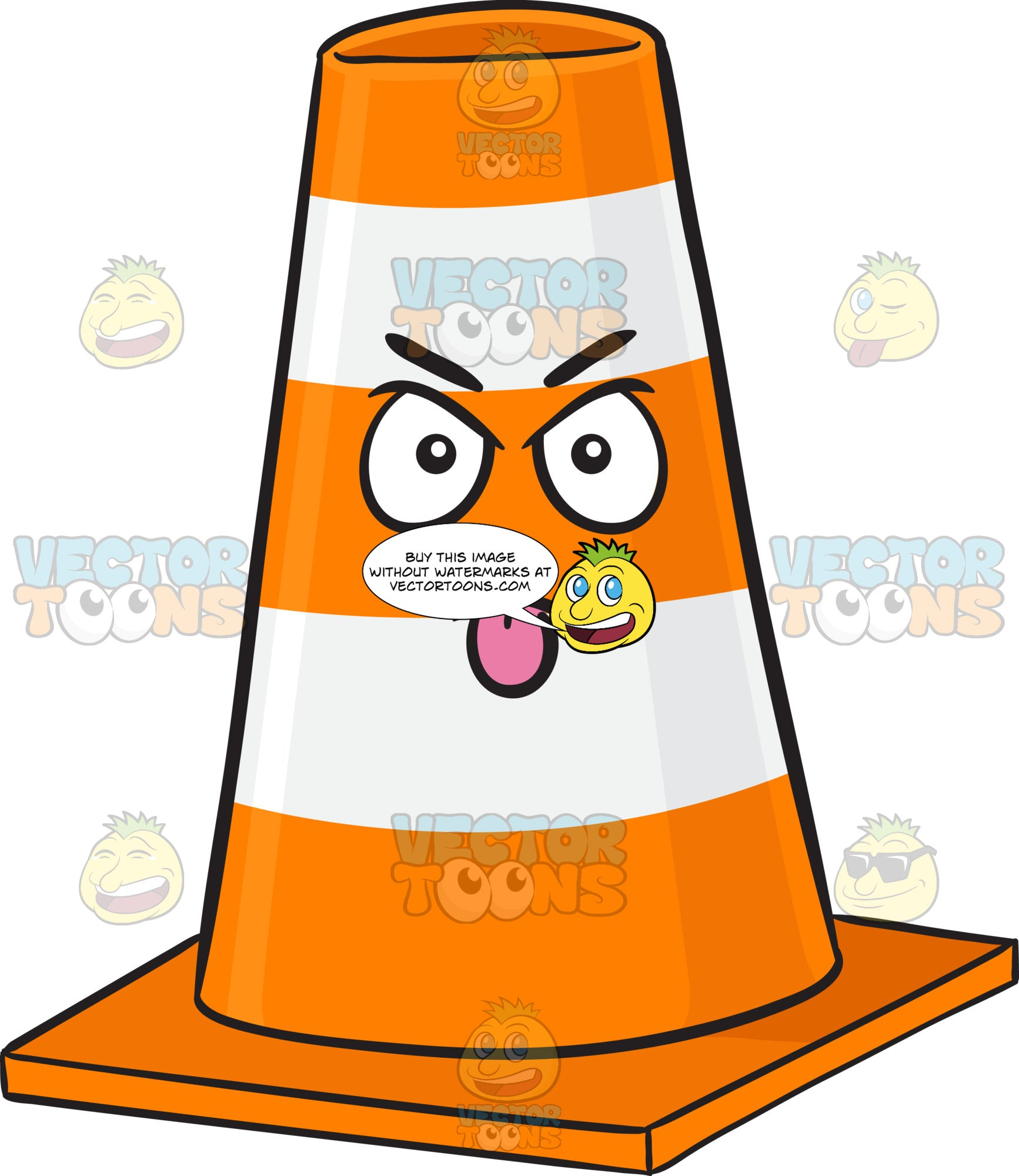 Traffic Cone Character Sticking Out Its Tongue Emoji