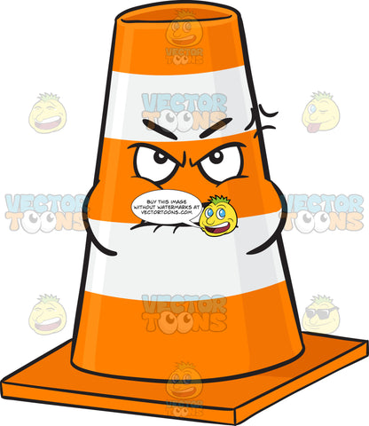 Bruised And Mad Traffic Cone Character Emoji