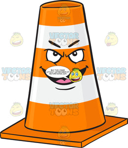 Naughty Looking Traffic Cone Character Grinning With Fangs Emoji