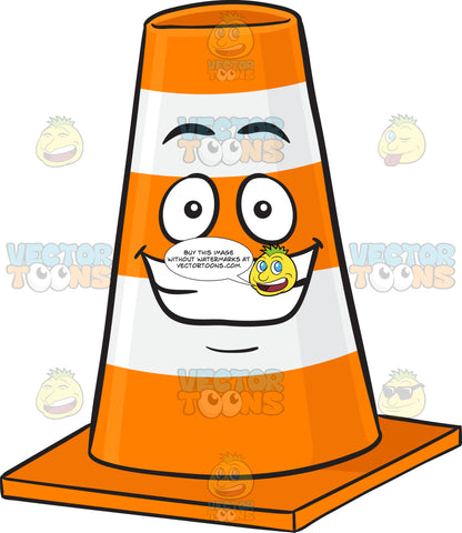 Traffic Cone Character With Big Cheesy Grin Emoji
