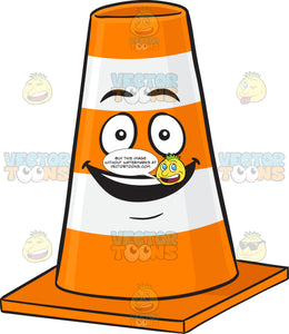 Smiling Traffic Cone Character With Bright Look On Face Emoji