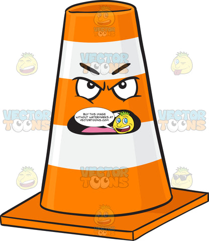 Traffic Cone Character Looking Outraged And Angry Emoji