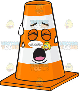 Traffic Cone Character Sweating In Pain Emoji