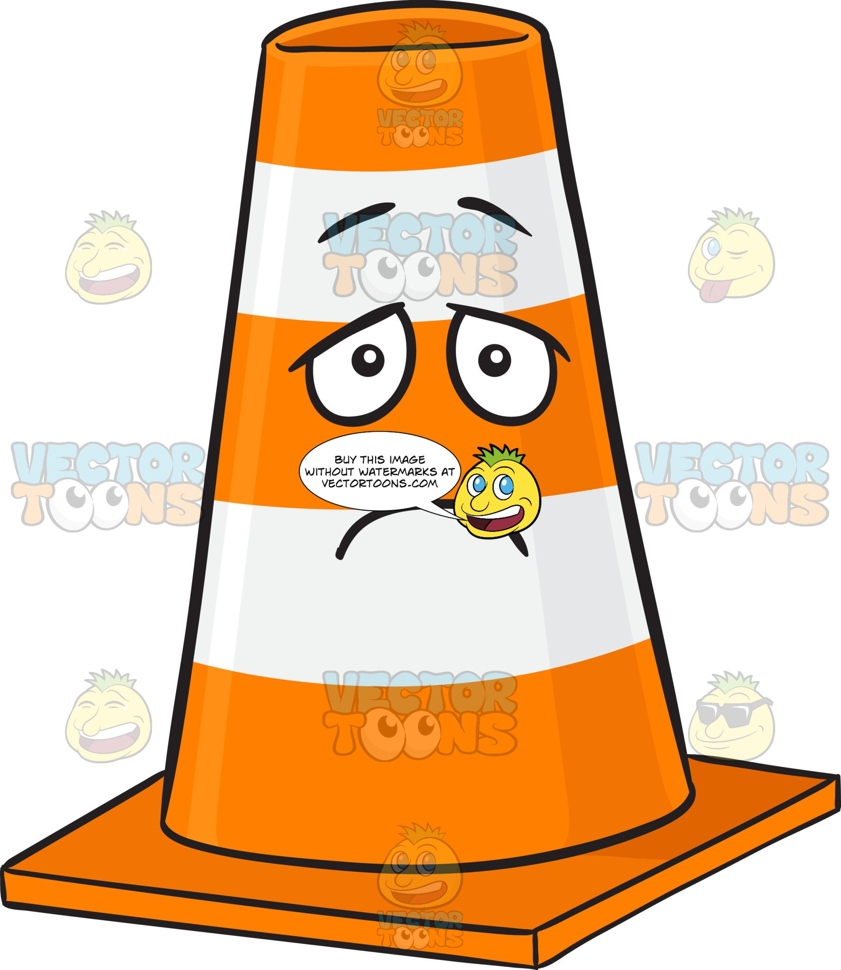 Traffic Cone Character With Depressed Look On Face Emoji