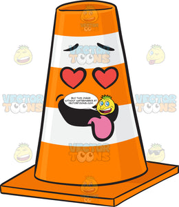 Love Struck Traffic Cone Character With Hanging Tongue Emoji