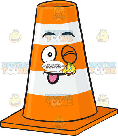 Winking Traffic Cone Character With Stuck Out Tongue Emoji