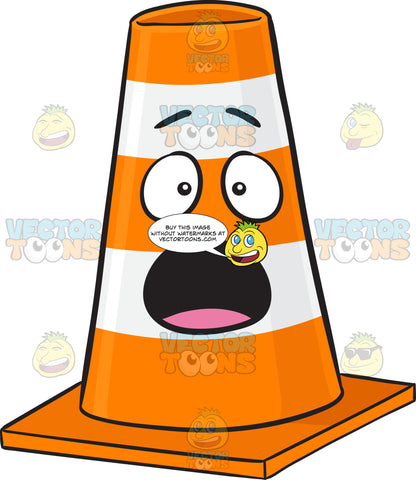 Startled And Shocked Traffic Cone Character Emoji
